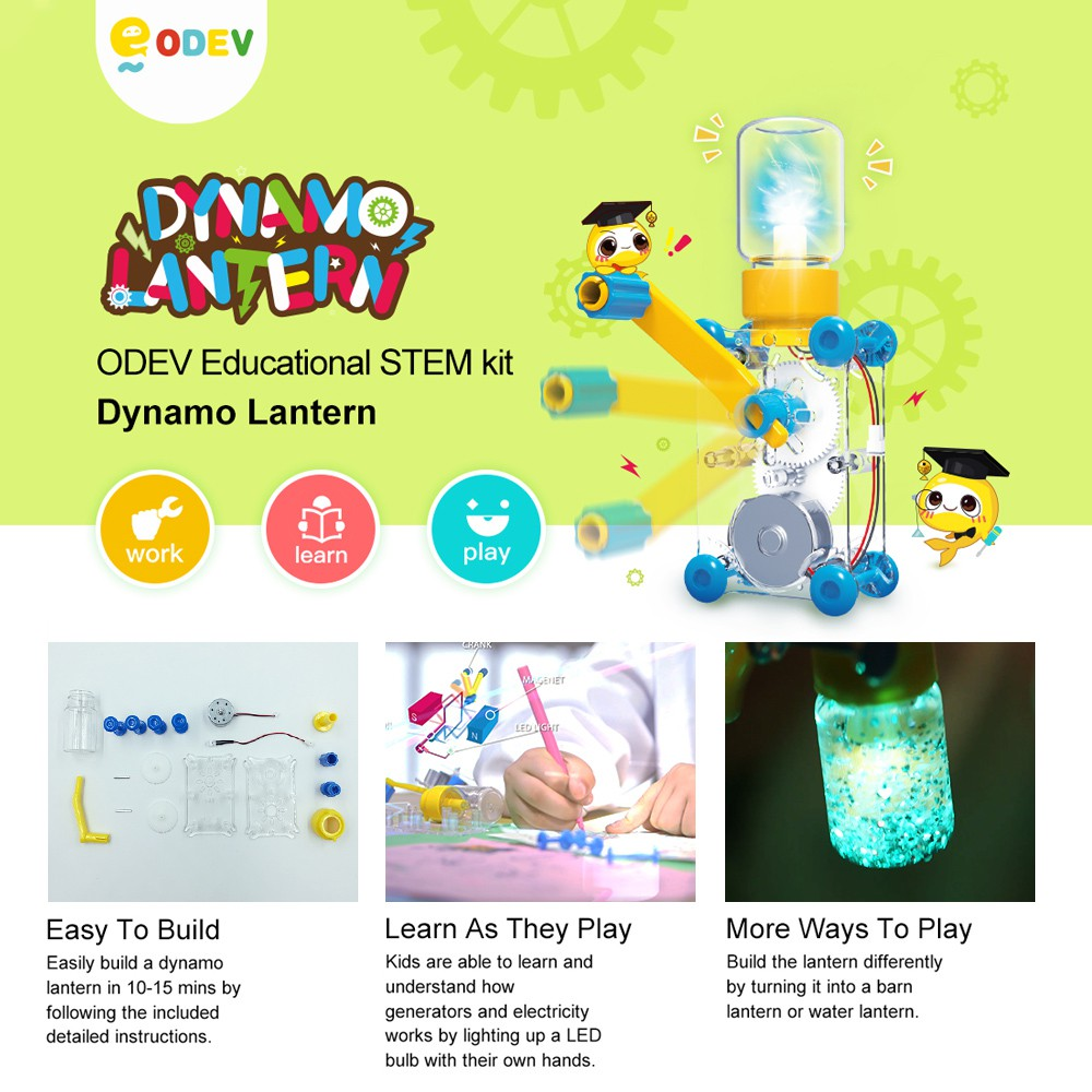 Odev Diy Dynamo Lantern Educational Stem Building Toy Hand Cranked Electricity For Kids Power Genera Shopee Malaysia