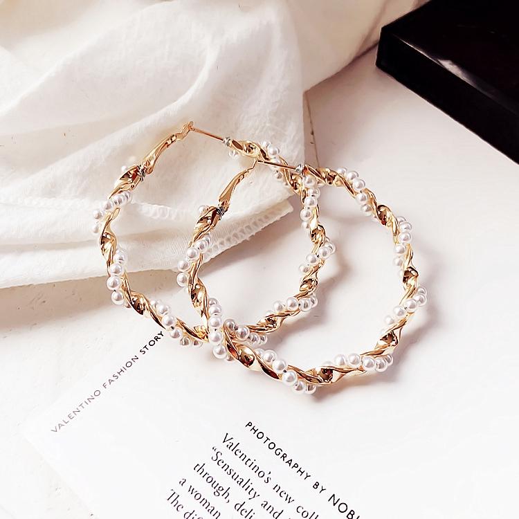 YESLADY Light C Hoop Earrings With Net Bead Chain Hoops For Women Girls