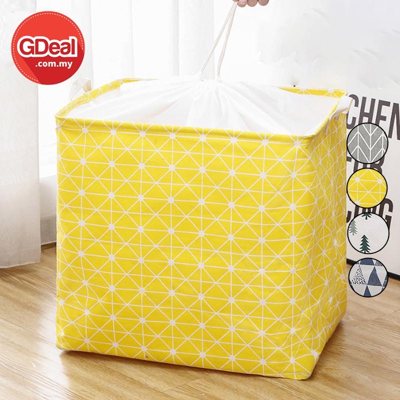 GDeal Drawstring Storage Basket Bag Geometric Design Beam Mouth Large Capacity Cloths Toy Beg Simpanan Baju Permainan