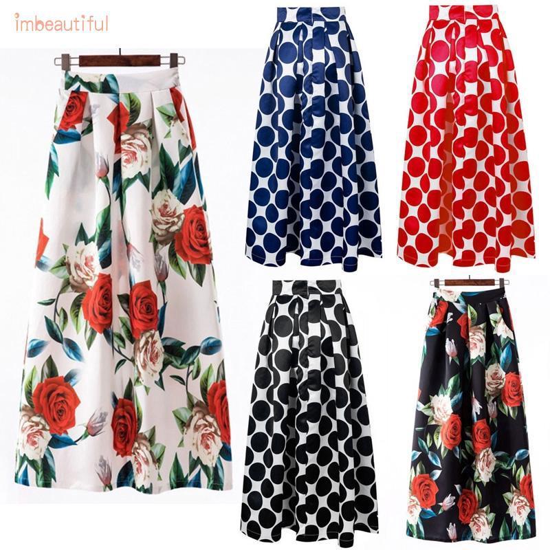 10579b7903 BF*Women Printed Polka Dot Party Vintage High Waist Pleated Long Maxi Skirt