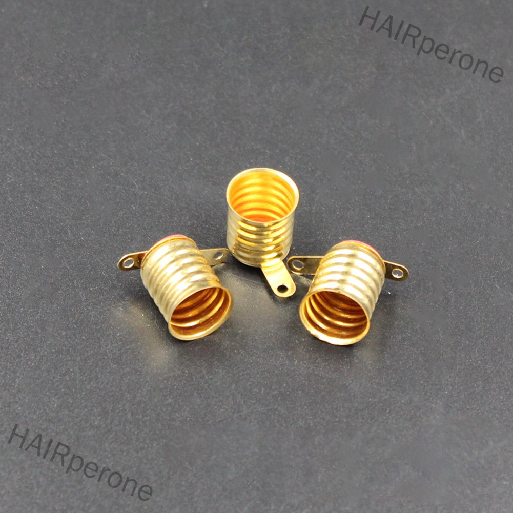 HAIRperone Straight Copper Brass Light Bulb Screw Base Mini Size Lamp Holder for E10 Small Bulb Light
