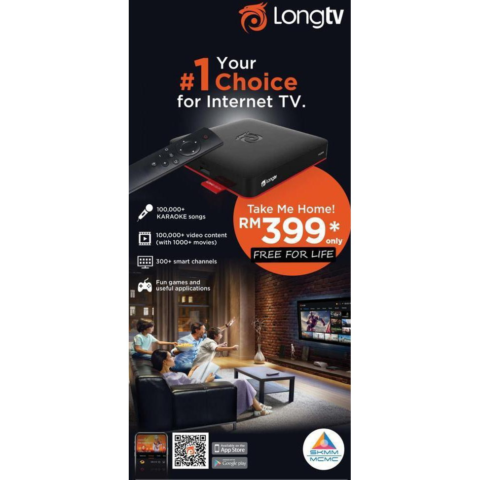 ORIGINAL LongTV TV Box MCMC Approved Sticker Free For Life Worldwide  Channels