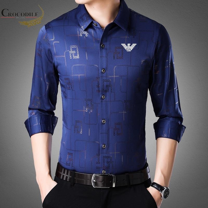 New Men's Lapel Long Sleeve Shirt Korean Casual Men's Plaid Slim Shirt Men's