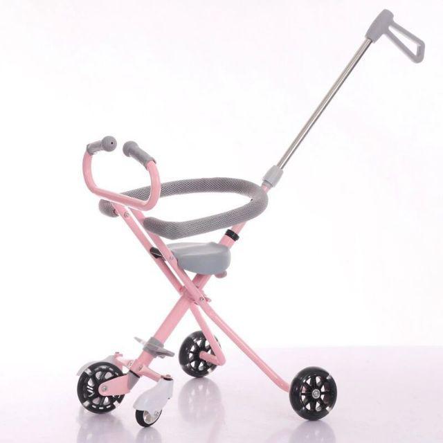 [ READY STOCK ]  Five Wheel Baby Stroller Flash Light Weight Folding Trolley Kid Bicycle Jualan Murah Outdoor Push Walker