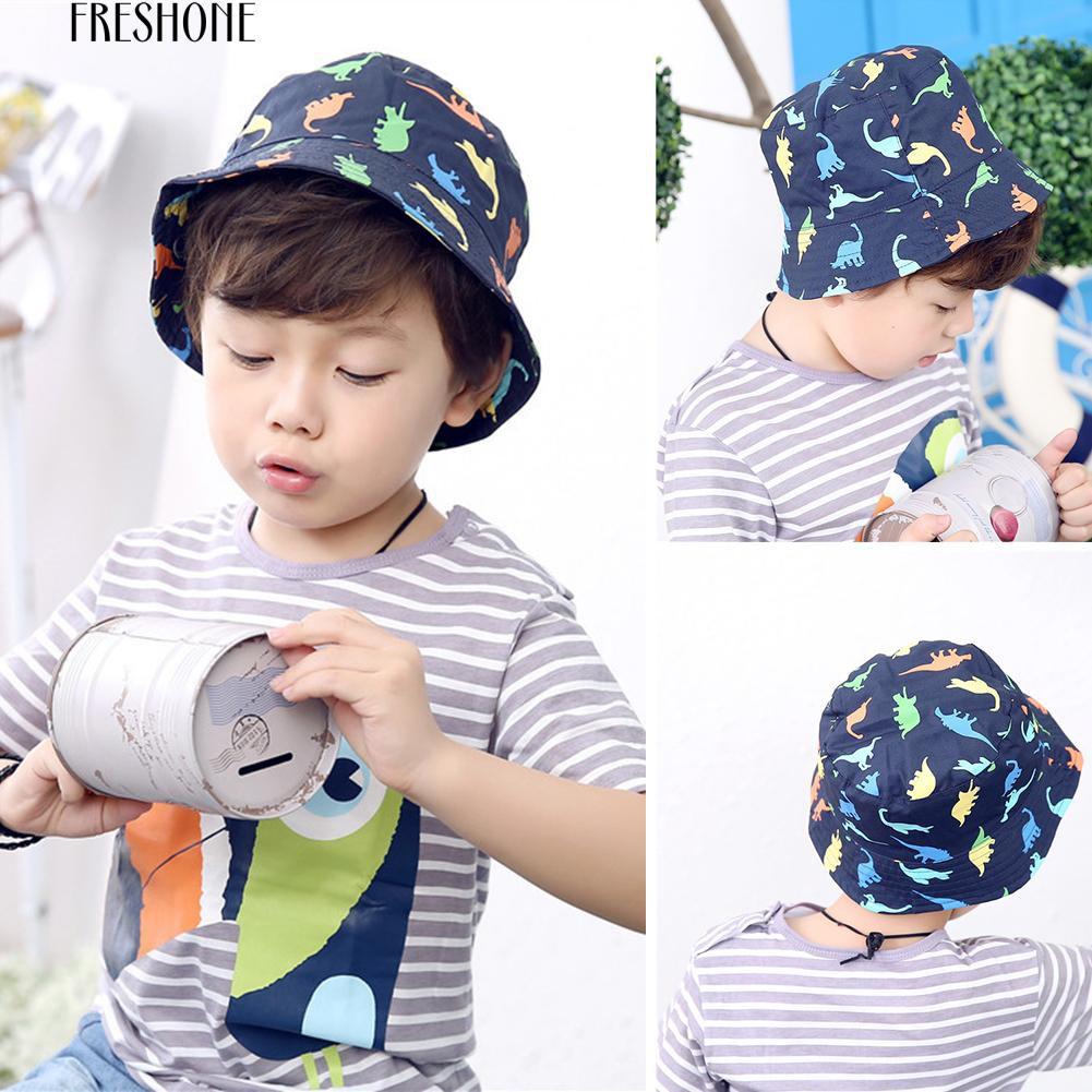 faeefdb5a 🔥Fre Children Boy Sun Hat Summer Cotton Bucket Baby Kids Animal Dinosaur  Sunhat