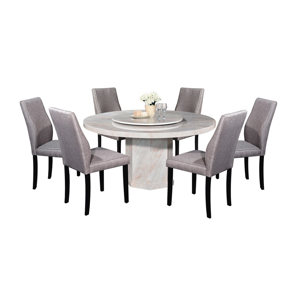 Nl Mtm402a 9403 4 Luxury Design Round Marble Dining Table Set 1 6 Shopee Malaysia