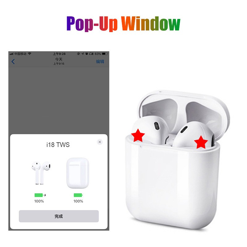 New version i18 Tws Wireless Earphone Earbuds Bluetooth 5.0 pk i7s i9s i10 i11 i12 i13 TWS