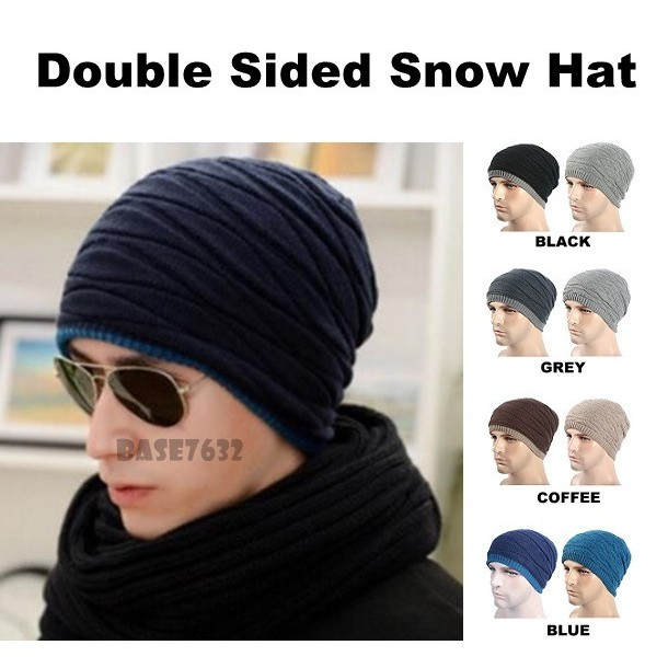 573acd17f Winter Warm Wool Knitted Creased Double Sided Beanie Snow Cap Hat 2285.1