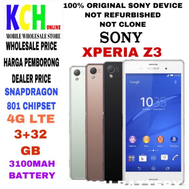 SONY XPERIA Z3(3+32GB)(100% ORIGINAL SONY DEVICE)(USED IN 95% PERFECT  CONDITION)