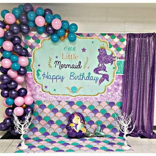Little Mermaid Birthday Party Purple Dots Photography Backdrop Baby Shower Backgrounds Shopee Malaysia