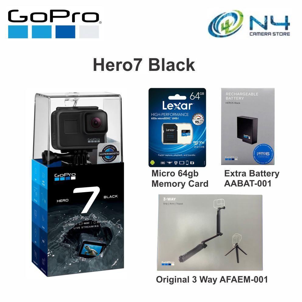 Gopro Hero 7 Black / Hero7 Black + Micro 64gb Memory Card + Extra Original  Battery + Original 3 Way AFAEM-001
