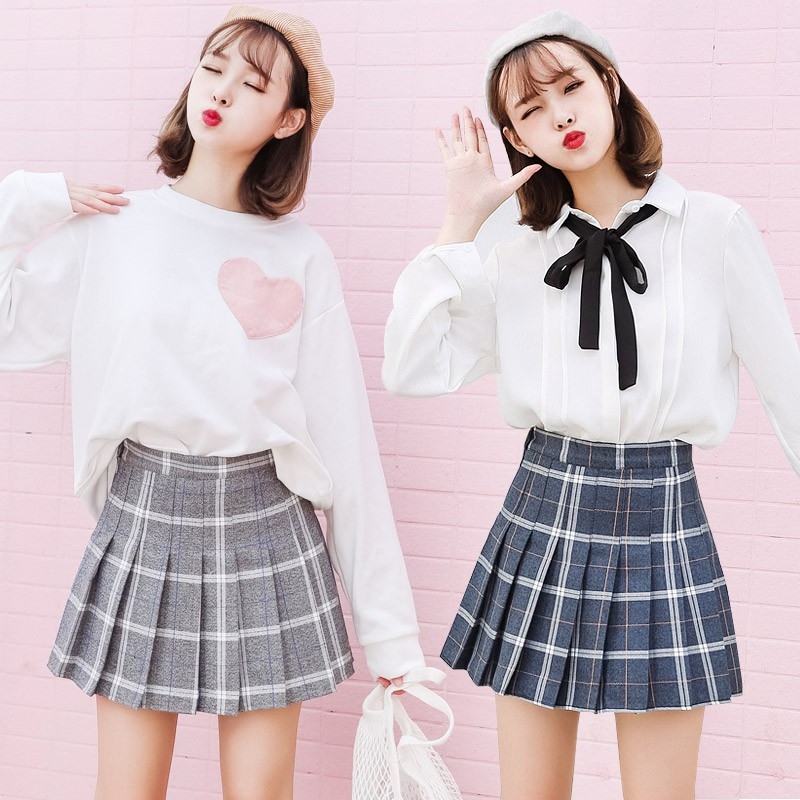 Women's Pleased High Waist Skirt School College Girls Mini Skirts