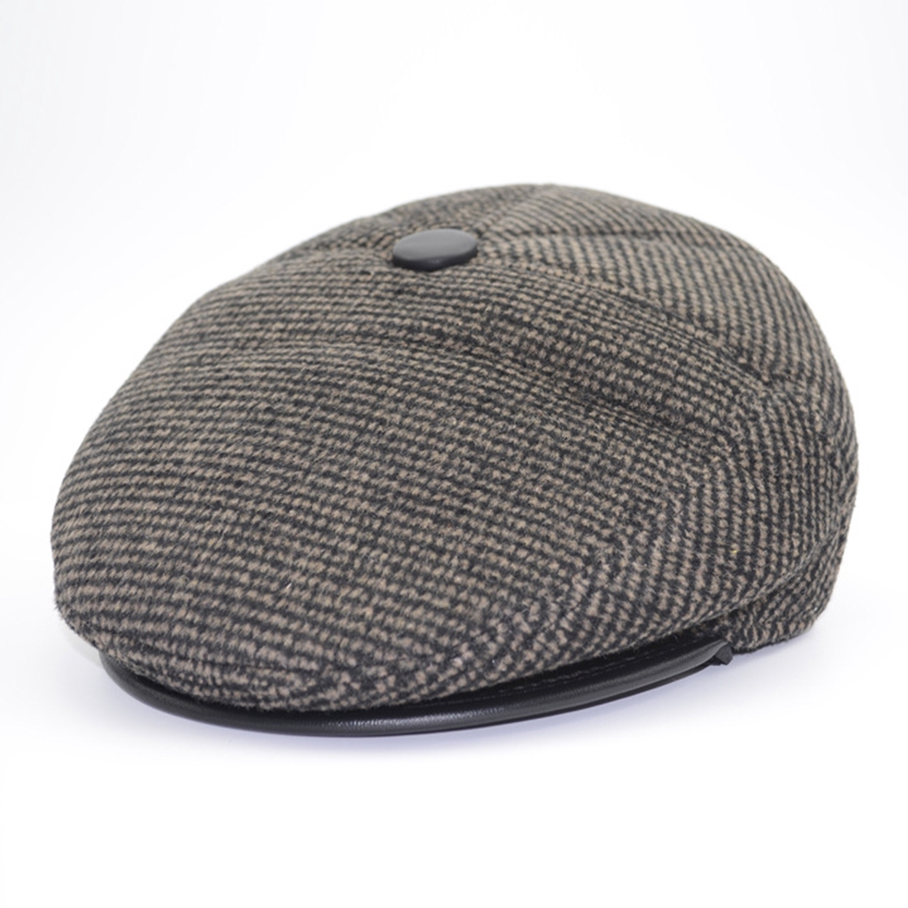 dfc2dc984 Men Senior Herringbone Tweed Newsboy Flat Cap Autumn Winter Casual Ear  Protection Baker Hat Retro Panel