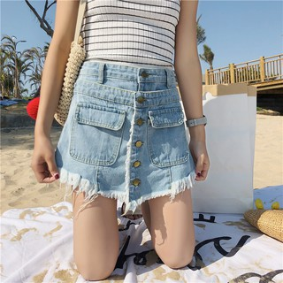 Two Shorts Harajuku Thin Jeans Women Leg Loose Fake Skirts Waist High Wide Raw Okw0nP