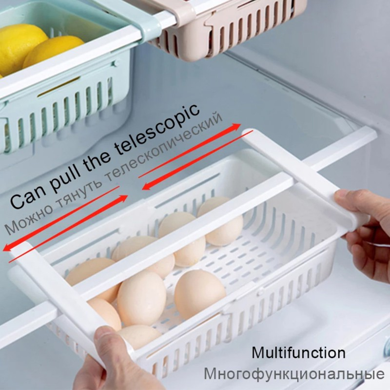 Adjustable Refrigerator Storage Rack Fridge Drawer Kitchen Pull-out Organizer