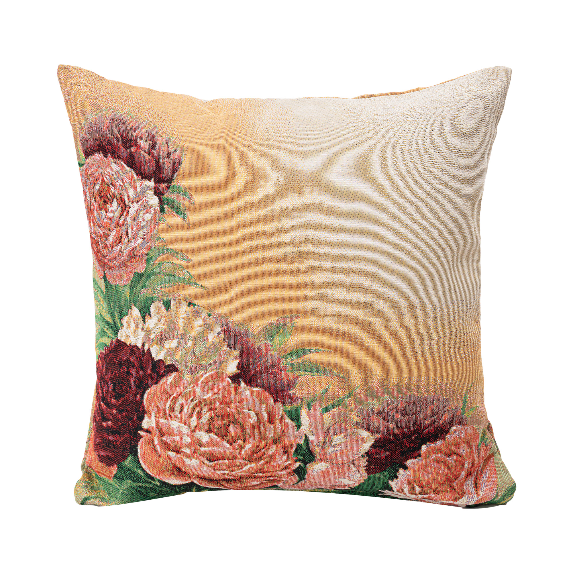 """Peonies Jacquard Woven Cushion Cover/Throw Pillow. Double-Sided Easy Care Polycotton. 45x45cm/18x18""""(Multicolor)"""
