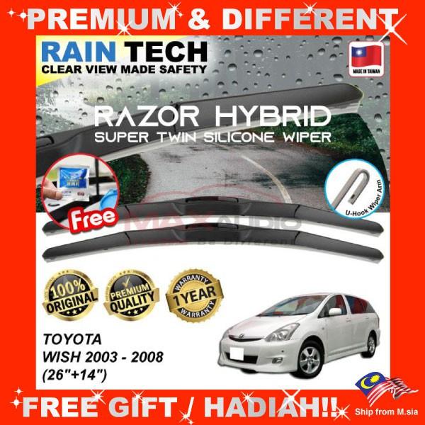 [FREE Gift] TOYOTA WISH 2003 - 2008 (26/14) RAIN-TECH RAZOR HYBRID Silicone Aerodynamic Clean Wipe Safety Wiper Blade