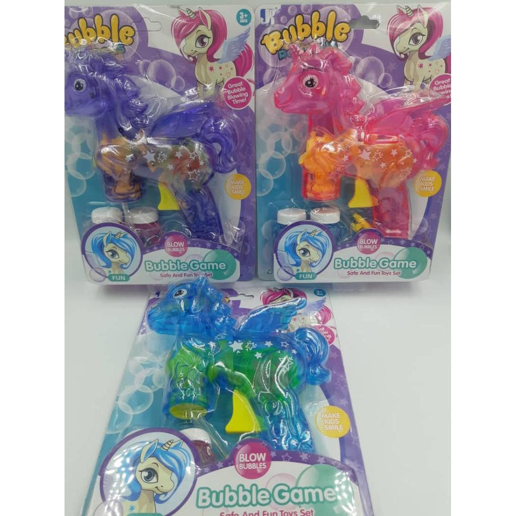 Pony Bubble With LED Light Bubble Gun,