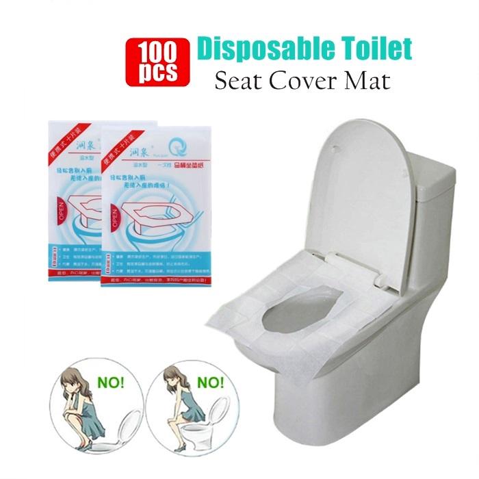 MALAYSIA:100Pcs /SET PELAPIK TANDAS Disposable Toilet Seat Cover Mat Waterproof