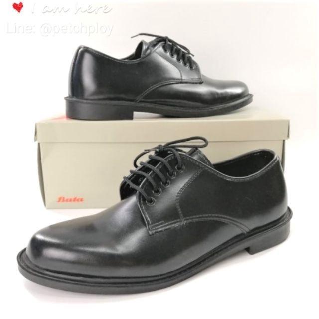 Bata รองเท้าคชชูหนัง สีดำ แบบผูกเชือก ยี่ห้อบาจาของแท้ เบอร์ 2-12 (35-47) รุ่น 821-6781 821