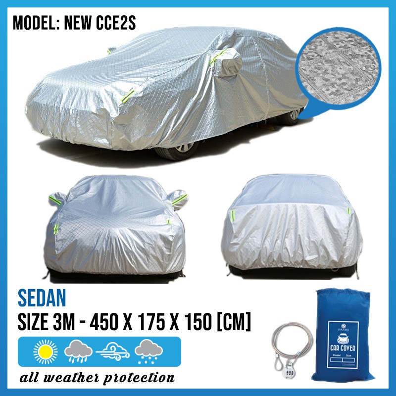 Car Cover Rain Dust Sunlight Resistant Protection for Proton Saga/Wira/Waja Toyota Vios (Size 3M) (NEW CCE2S)
