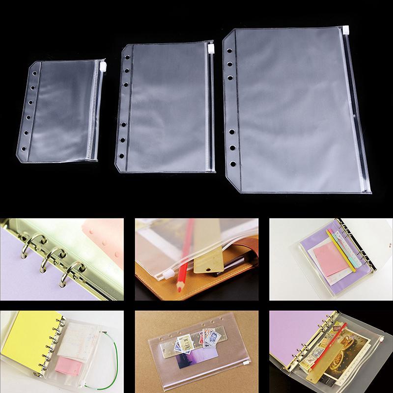 a11b494d104c A5 A6 A7 Binder Zipper File Pocket Refill Envelope Transparent ...