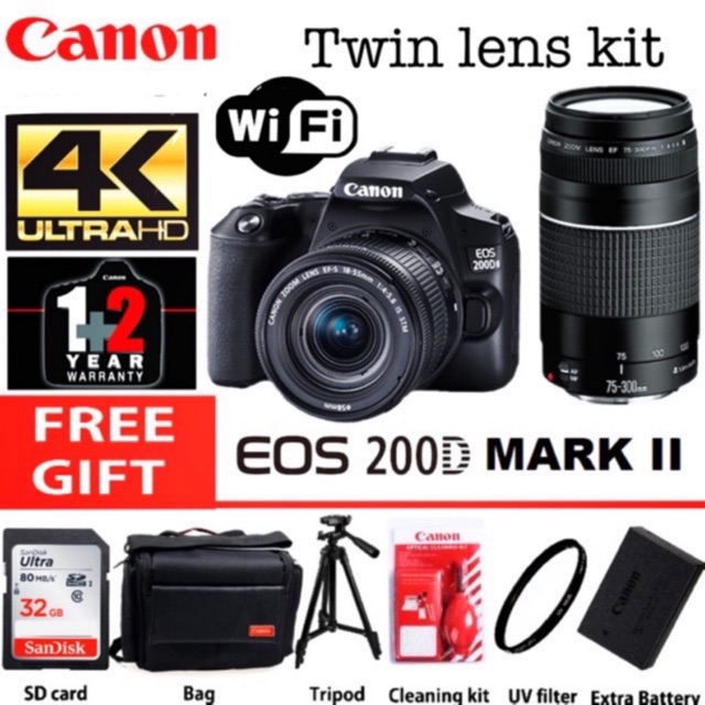 Canon eos 200d Mark ii 75-300mm + 18-55mm is stm twin lens kit 3 years  warranty | Shopee Malaysia