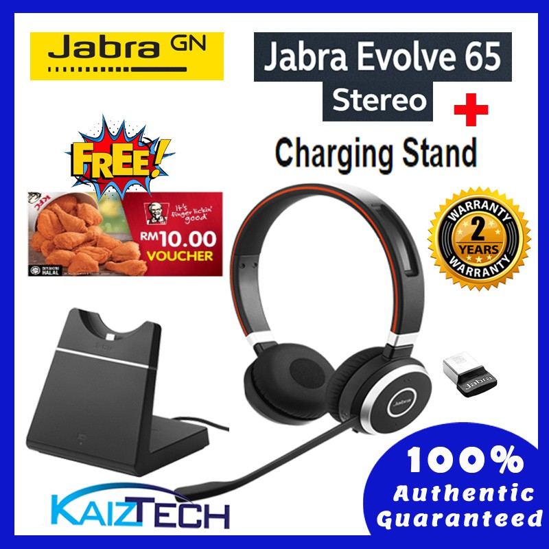 Jabra Evolve 65 Ms Stereo Wireless Bluetooth Headset Includes Charging Stand Link 360 Shopee Malaysia