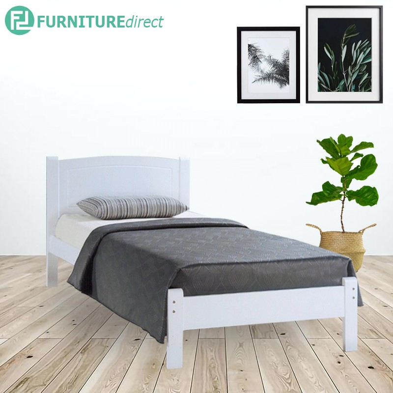 Furniture Direct THOMAS white painted wooden bed frame/ katil kayu/ queen bed frame/ katil queen