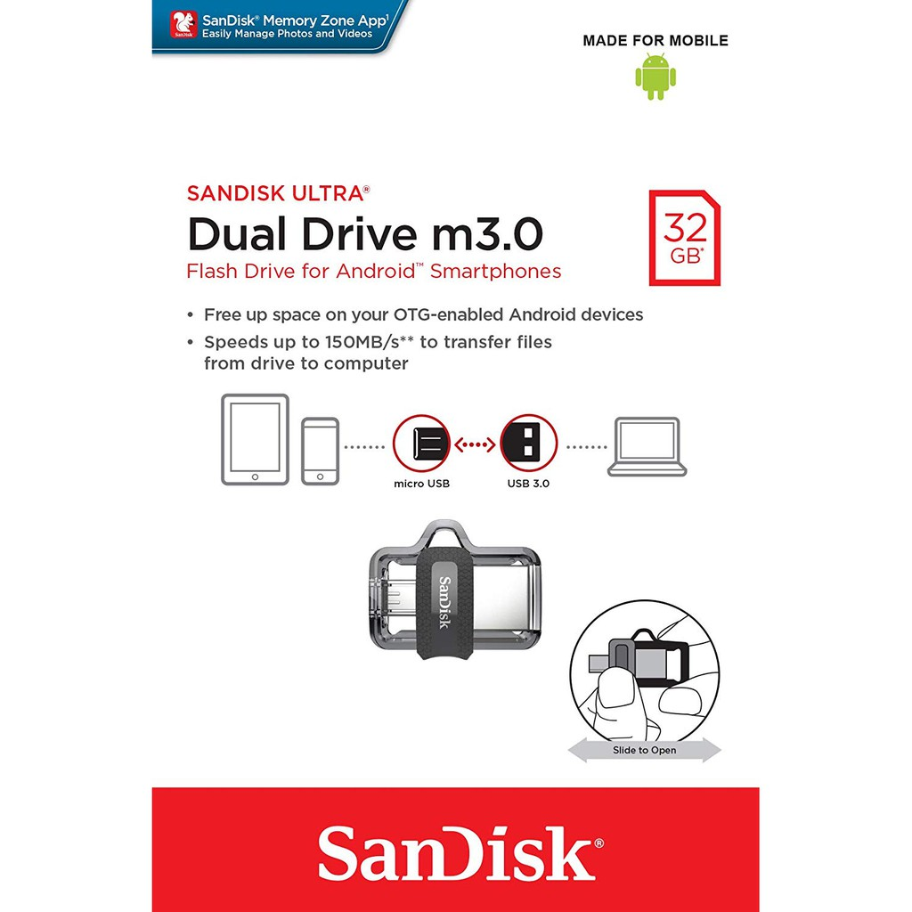 SanDisk 32GB Ultra Dual Drive m3.0 for Android Devices and Computers - OTG,microUSB, USB 3.0 - SDDD3-032G