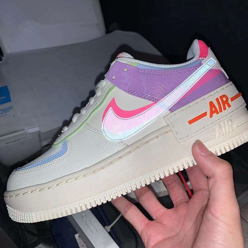 2020 Original Newlist Nike Air Force 1 Shadow AF1 Jelly White Pink Purple  Splicing Women Sneakers CU3012-164