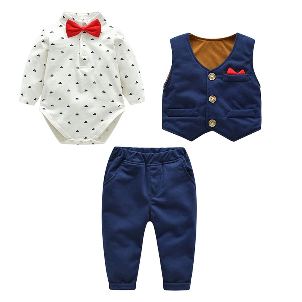 Fairy Baby Boys Wedding Outfit Newborn Rompers Baby Onesies Boys Grey Baby Tuxedo,0-3 Month,Grey Stripe