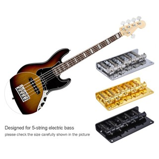 ammoon 5-saddle Bridge Set for 5 String Electric Bass Guitar Part Replacement Silver