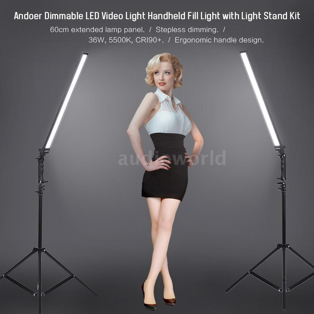 Andoer Photography Studio LED Lighting Kit Dimmable LED Video Light Handhel