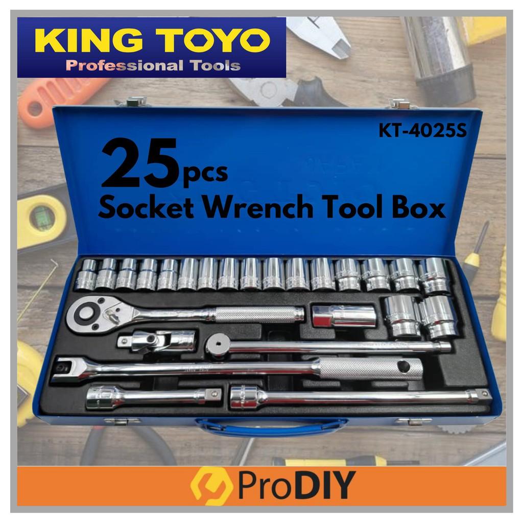 KING TOYO KT-4025S 25Pcs 10 - 32MM Tool Socket Wrench Tool Box Set