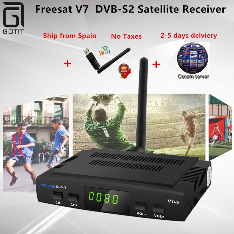 Freesat V7 DVB-S2 Satellite Receiver with CCCAM 1 Year 1 USB WIF Device TV  Box