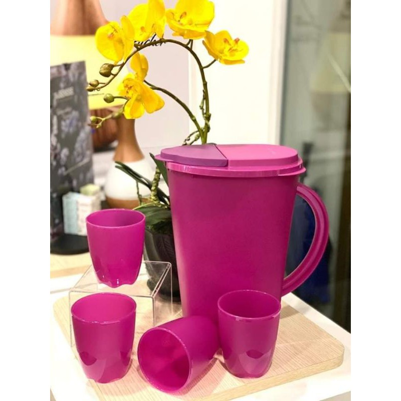 🔥 Ready Stock 🔥 Camelia Collection Serveware Set - 1 Pitcher (3.7L) + 4 Tumblers (275ml) 🔥