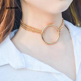 453cb0a29311d YAR_Punk Multilayer Chain O-Ring Choker Collar Necklace Club Women ...
