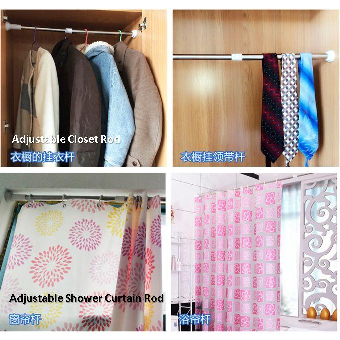 Tension Extendable Curtain Rod Window Shower Hanger Closet Storage Hanging Stick