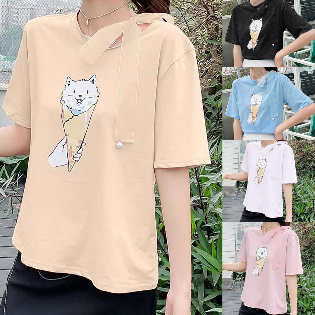 超可愛綁帶圓領衫Women Loose O-Neck Cat Print Short Sleeve Cute Shirt