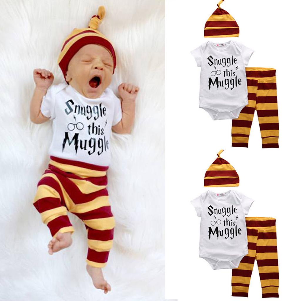 8a44c919e Newborn Infant Baby 3PCS Harry Potter Snuggle Clothes Top Pant Hat ...