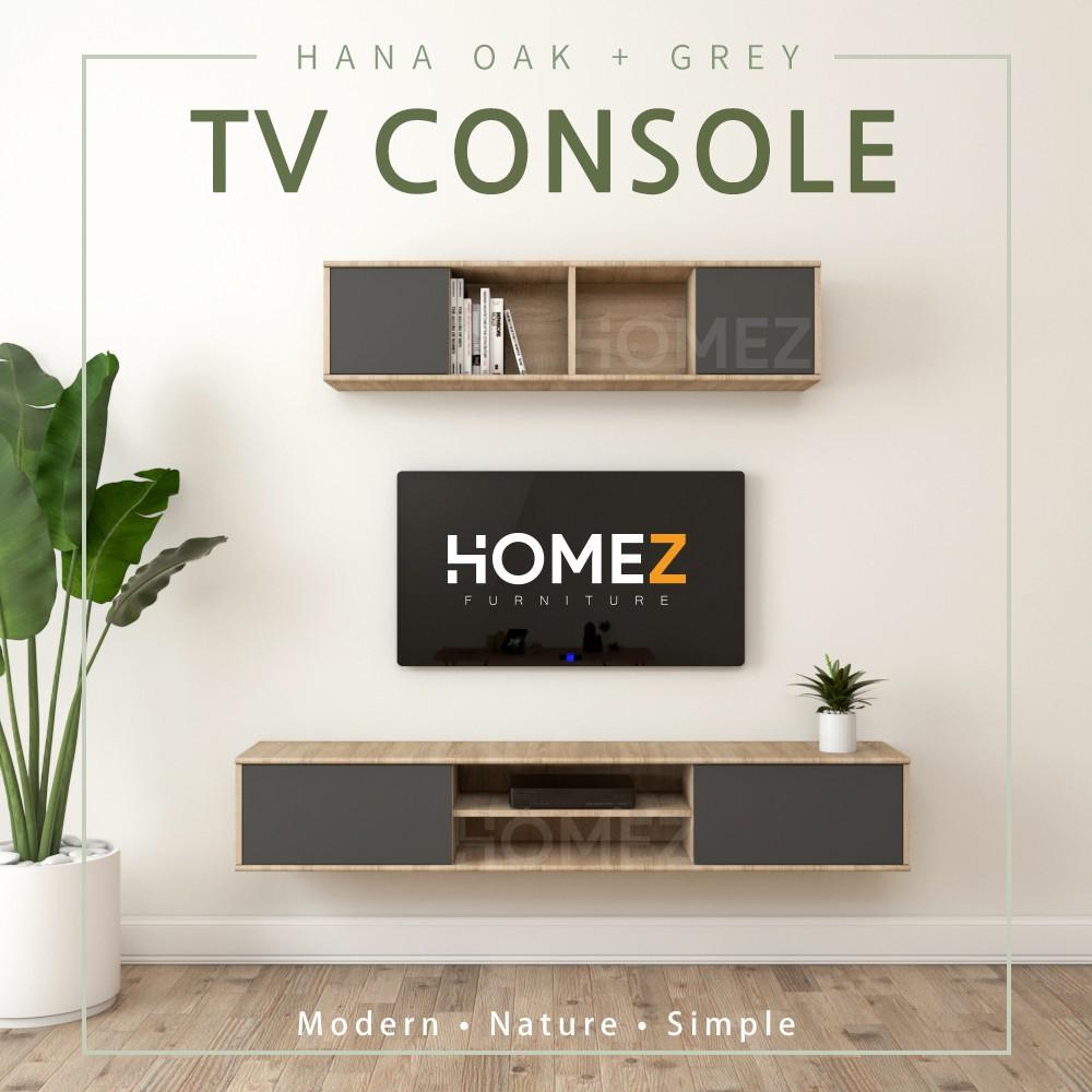 KitchenZ Wall mount TV Cabinet JJ3072 ( UPPER + LOWER Cabinet ) - Hana Oak