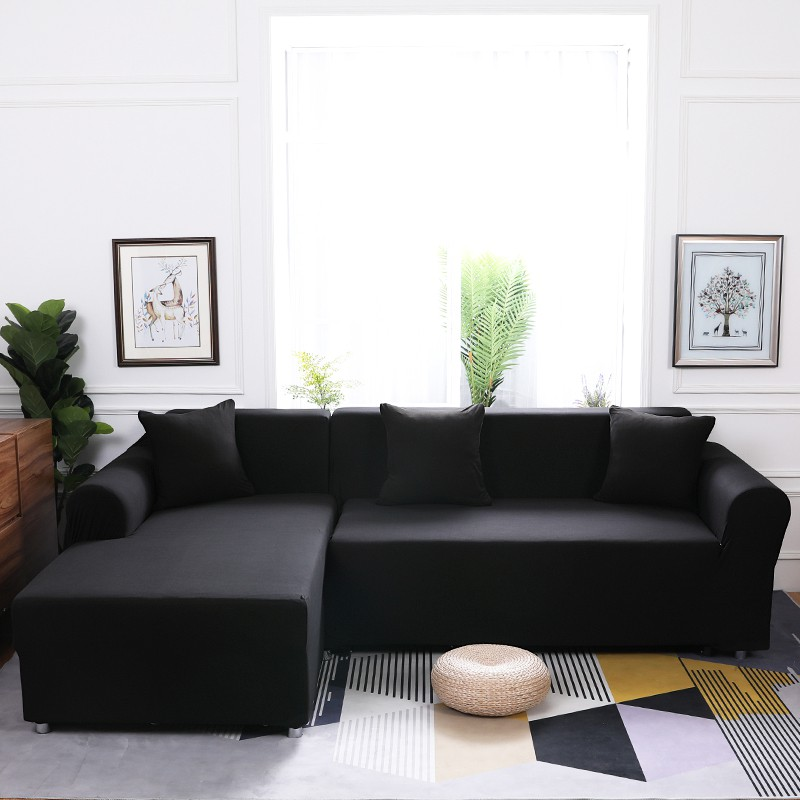Black L Shaped Sofa Cover For Living Home Stretch Furniture Covers