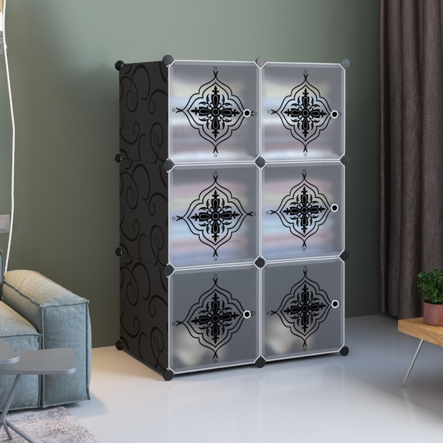 MALAYSIA: PlainFlower 6 cube Black DIY Multipurpose Wardrobe Cabinet Clothes Storage Organizer Almari Rak