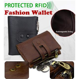 8acbff65ba14 Men RFID Blocking Wallet Small Vintage Crazy Horse Leather Short ...