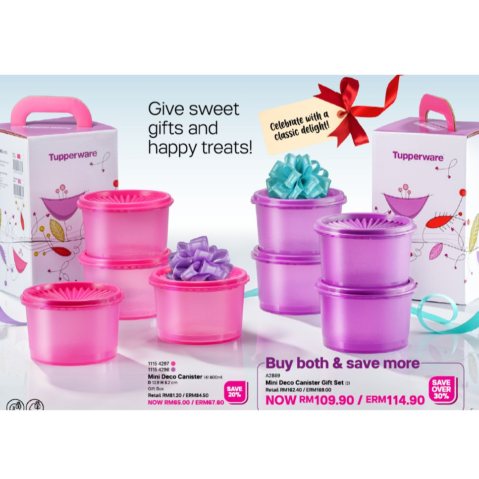 Tupperware Mini Deco Canister Gift Set (4) 600ml Pink/Purple / Both Color Set / Full Set Of Pink or Purple