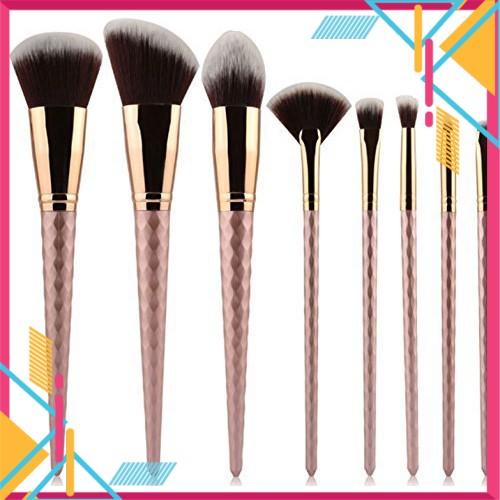 Rose Gold Threaded Rod Makeup Brush Set (8 Pcs)