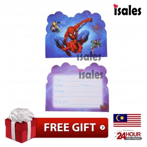 Ready Stock Isales Birthday Party Spider Man Invitation Card