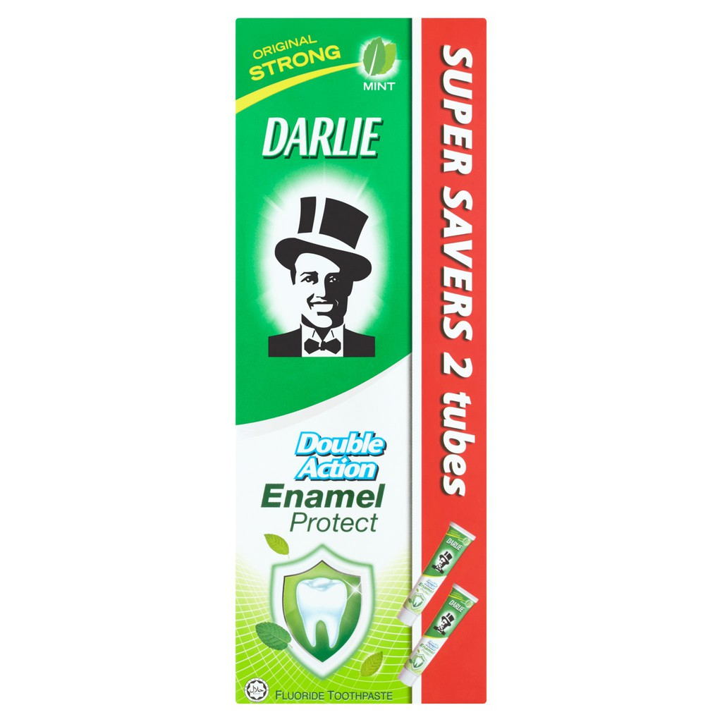 Darlie Double Action Enamel Protect Fluoride Toothpaste Mild Mint (200g x 2) - 3 Pack