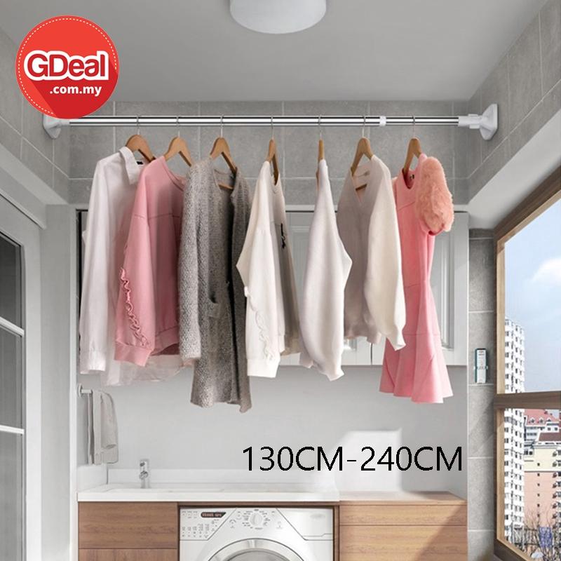 GDeal 130-240cm Telescopic Shower Curtain Rod Stainless Steel Curtains Rail Rod Tirai Mandi Langsir رود تيراي مندي